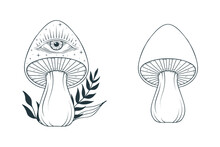 Witchy Mystical Mushroom. Boho Fungi With Stars And Floral Elements.