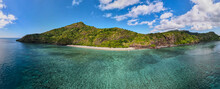 Drone View Of White Sand Beach Of Mayotte Turquoise Lagoon