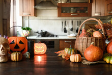 Cozy Kitchen With Pumpkins For Thanksgiving Day Or Halloween Cooking And Preparations.