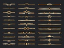 Golden Art Deco Dividers. Vintage Gold Ornaments, Decorative Divider And 1920s Header Ornament Vector Set