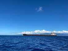 Aerial View Of Large Tanker And Cargo Cruising In The Middle Of The Indian Ocean