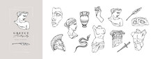 Set Of Antique Marble Statues With Broken Elements. Greek Classic Ancient Of Venus, Amphora. Modern Tattoo And Logo. Hand Drawn Mythical Trendy Vector