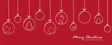 Red Christmas Card With Tree Balls Decoration
