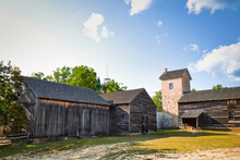 The Threshing Barn On The Farm Complex At The Historic Batsto Village In The Pine Barrens, New Jersey, USA