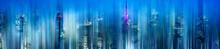 Concept Of Futuristic City With Motion Blur Showing Digital City Landscape, Tokyo, Japan