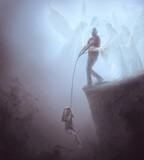 Fototapeta Natura - Man saving child while angels help