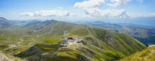 Campo Imperatore Valley And Observatory View On A Summer Hiking Day In Gran Sasso,  Abruzzo, Italy