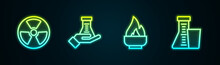 Set Line Radioactive, Test Tube And Flask, Alcohol Or Spirit Burner And . Glowing Neon Icon. Vector