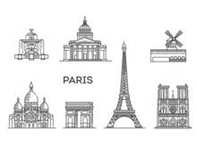France, Paris Architecture Line Skyline Illustration