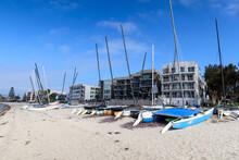 Beaches Sailboats On A Mission Bay San Diego Beach,