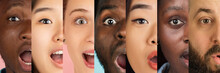 Cropped Portraits Of Young Multiethnic Men And Women On Multicolored Background. Collage Made Of 7 Models. Concept Of Youth, Unity, Equality And Diversity