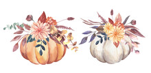 Watercolor Thanksgiving Invitations Bouquets With Hand Painted Pumpkins, Pink Flowers. Romantic Floral Bouquet Perfect For Wedding Greeting Cards, Invitation. High Quality Illustration