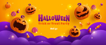 Happy Halloween. Group Of 3D Illustration Pumpkin On Treat Or Trick Fun Party Celebration Background Design.
