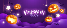 Happy Halloween. Group Of 3D Illustration Glowing Pumpkin On Treat Or Trick Fun Party Celebration Purple Background Design.