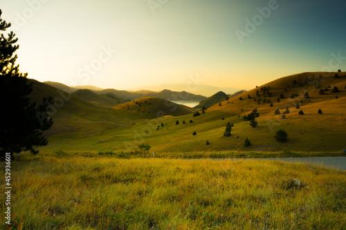 Fotografie, Obraz Summer sunrise in Campo Imperatore, Gran Sasso National Park, Abruzzo, Italy