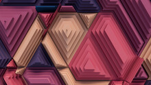 Multicolored Tech Background With A Geometric 3D Structure. Bright, Stepped Design With Extruded Futuristic Forms. 3D Render.