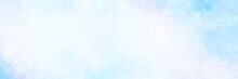 Pastel Light Blue White Watercolor Panoramic Cloudy Painted Background With White In The Center, Blotches And Blobs Of Paint And Watercolor Paper Texture Grain, Abstract Blue Sky Painting