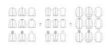 Set Of Down Coats Vests Puffer Waistcoat Technical Fashion Illustration With Pouch, Pockets, Oversized, Crop Hip Length. Flat Template Front, Back, White Color Style. Women, Men, Unisex Top CAD Mockup