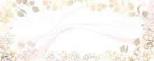 Luxurious Golden Wallpaper. White Background. Gold Leaves Wall Art With Shiny Golden Light Texture. Modern Art Mural Wallpaper. Abstract Vector Illustration.
