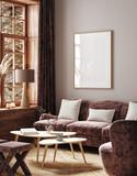 Frame mockup in home interior background, 3d render