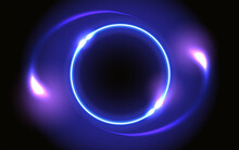 Abstract Fantastic Background With Neon Glowing Round Frame And Space Portal Into Another Dimension