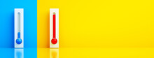Blue And Red Thermometers Over Bright Background, Regulation Of The Air Conditioner In Any Weather, 3d Rendering, Panoramic Image
