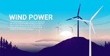 Wind power illustration - Windmills in nature landscape with sunrise and blue sky. Renewable clean energy concept. Vector format