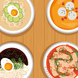 Fototapeta Natura - korean food four icons