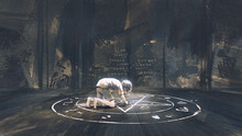 A Child Drawing The Evil Pantagram A Symbol Of Demon On The Ground, Digital Art Style, Illustration Painting