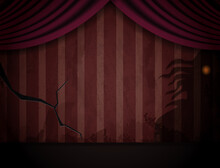 Aged Old Room With Red Striped Wallpaper And Shadows Of Creepy Creature For Halloween Design