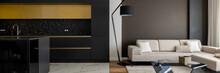 Modern Black Kitchen Open To Elegant Living Room, Panorama