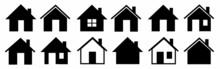 House Icons Set. Property Line And Flat Symbol. Houses Collection. Real Estate. Web Home Flat Icon