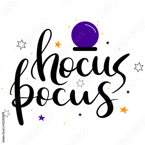 Stampa su Tela Hocus Pocus hand drawn lettering composition with stars and magic ball