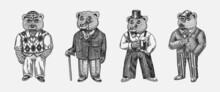 Bear In Vintage Costume With Beer. Fashion Animal Character In Tweed Jacket. Hand Drawn Sketch. Retro Look. Vector Engraved Illustration For Logo And Tattoo Or T-shirts.