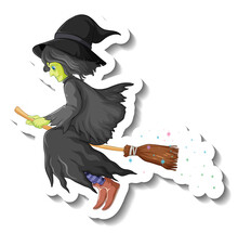 Old Witch Riding Broomstick Cartoon Character Sticker