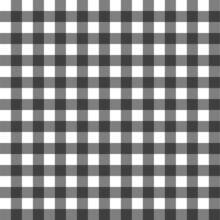 Black Gingham Fabric Square Checkered Christmas Seamless Pattern Vintage Background Vector Illustration