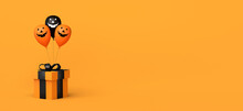Halloween Shopping And Sale Banner With Gift Box And Jack O Lantern Pumpkin Balloons. 3D Illustration. Copy Space.