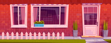 House Facade With Red Brick Wall, Window, Door And Flowers In Pots. Vector Cartoon Illustration Of Residential Building Exterior In Suburban Neighborhood, Home Entrance With Fence And Green Lawn