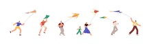 Set Of People Playing With Air Kites And Fly It To Sky. Happy Joyful Man, Woman, Kid Running And Walking, Holding Flying Wind Toy In Hands. Flat Vector Illustration Isolated On White Background