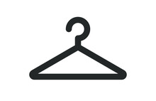 Clothes Hangar Hook  Icon Symbol Shape. Coat Rack Sign Silhouette. Vector Illustration Image. Isolated On White Background.