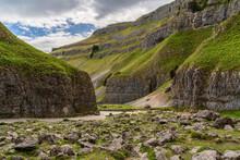 Yorkshire Dales Landscape At The Gordale Scar Near Malham, North Yorkshire, England, UK