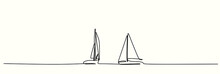 Continuous Drawing Of Two Sailing Boats In The Wind