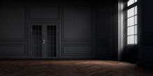 Simple Black Antique Room Interior With Sunlight From Window, With White Decorative Classic Style Molding Frames On Walls