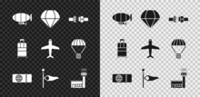 Set Airship, Parachute, Safety Belt, Airline Ticket, Cone Meteorology Windsock Wind Vane, Airport Control Tower, Suitcase And Plane Icon. Vector
