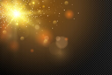 Golden Particles. Glowing Yellow Bokeh Circles Abstract Gold Luxury Background.