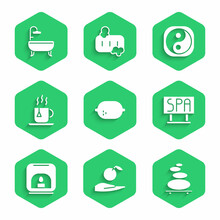 Set Lemon, Apple In Hand, Stack Hot Stones, Spa Salon Signboard, Aroma Lamp, Cup Of Tea With Tea Bag, Yin Yang And Bathtub Icon. Vector