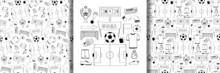 Football Objects Set And Seamless Patterns Set