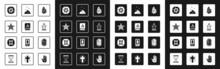 Set Magic Stone, Ancient Magic Book, Pentagram, Tarot Cards, Burning Candle, Powder, Runes And Gemini Zodiac Icon. Vector