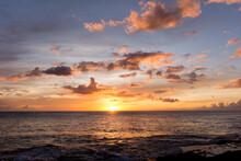 Rainbow Hawaiian Cloudy Sunset With Silhouettes