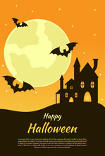 Orange Halloween Day Greeting Background Used For Poster Template.